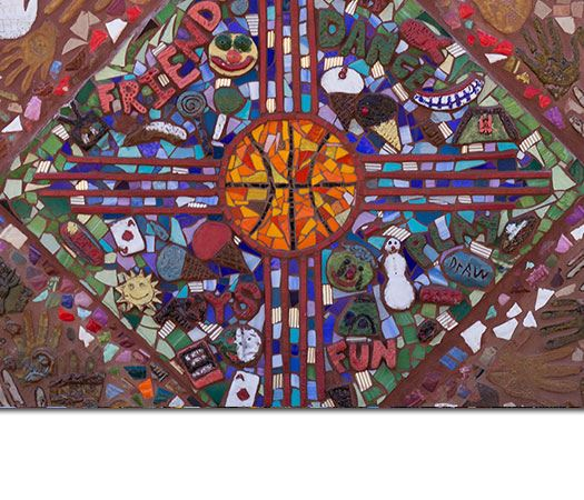 Colorful Art with a Basketball in the Center